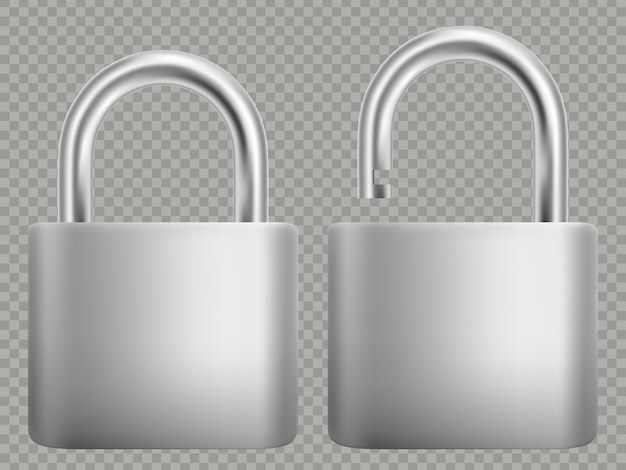 Padlock icon set. isolated on white background. closed and open.