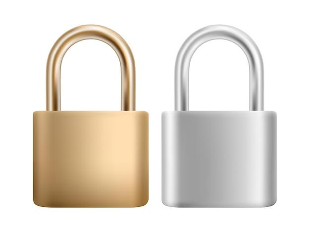Значок замка установлен. стальной и золотой замок для защиты конфиденциальности, веб и мобильных приложений.