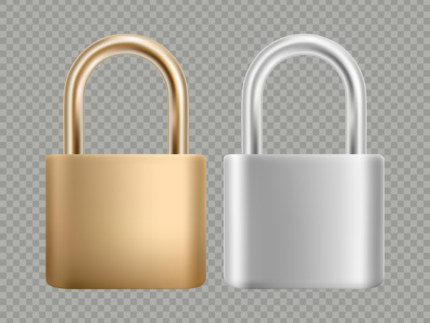 Padlock icon set. steel and gold lock for protection privacy.