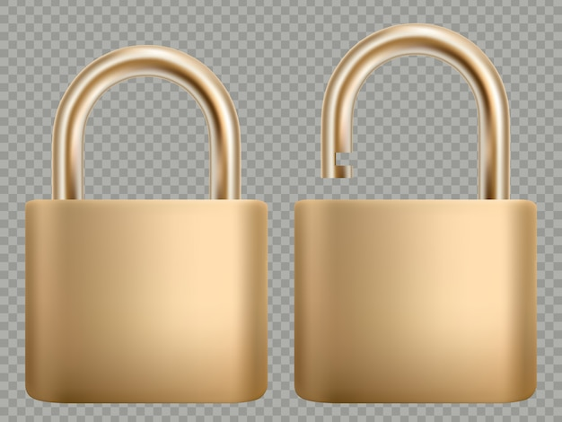 Padlock icon set. steel and gold lock for protection privacy