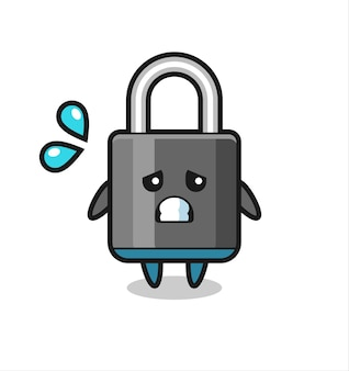 Padlock mascot character with afraid gesture , cute style design for t shirt, sticker, logo element