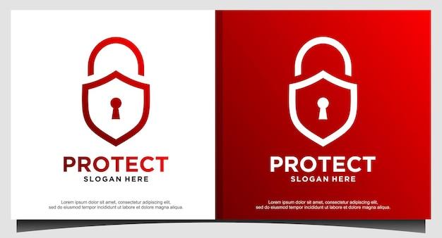자물쇠는 보안 로고 디자인 벡터를 보호합니다