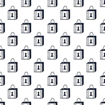 Padlock seamless pattern. black and white. simple repeating pattern.
