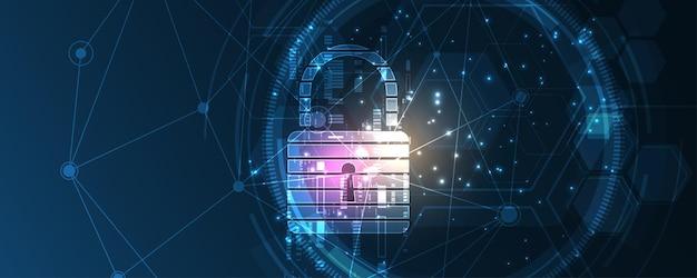 南京錠セキュリティサイバーデジタル概念抽象的な技術の背景は、システム革新のベクトル図を保護