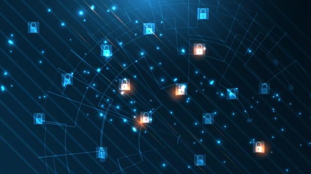 자물쇠 보안 사이버 디지털 개념 추상 기술 배경 보호 시스템 혁신