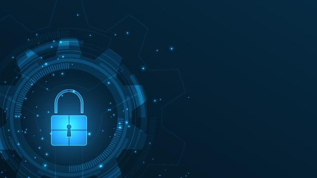 南京錠セキュリティサイバーデジタルコンセプト抽象的な技術の背景がシステムを保護します