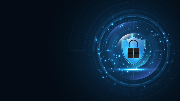 Padlock security cyber digital concept protect system