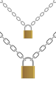 Padlock with chain   illustration  on white background