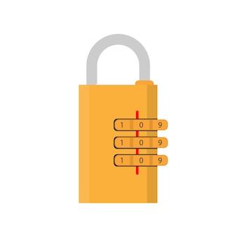 コード付きの南京錠。ドア、金庫、スーツケース用の南京錠。フラットスタイル。ベクター。