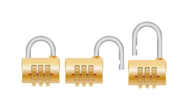 コード付きの南京錠。ドア、金庫、スーツケース用の南京錠。フラットスタイル。