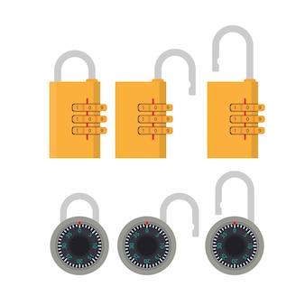コード付きの南京錠。ドア、金庫、スーツケース用の南京錠。