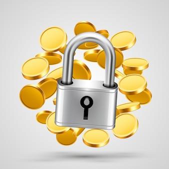 Замок со значком объекта золотые монеты. векторная иллюстрация