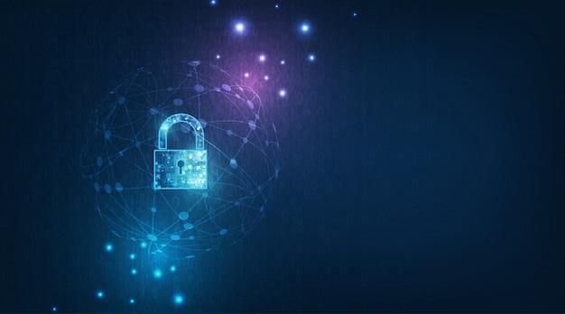 個人データのセキュリティで鍵穴アイコンが付いた南京錠サイバーデータまたは情報プライバシーのアイデアを示します。青色抽象的なこんにちは高速インターネット技術。