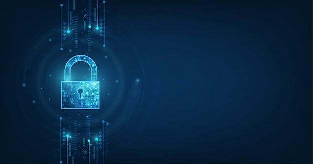 鍵穴付き南京錠。個人データのセキュリティサイバーデータまたは情報プライバシーの考え方を示します。青い色の抽象的な高速インターネット技術。