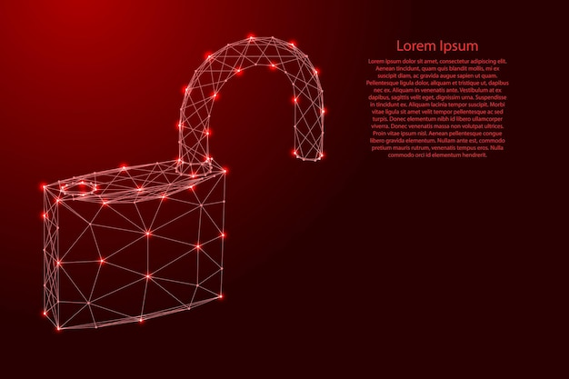 Padlock with open shackle, symbol of vulnerability of data protection, from futuristic polygonal red lines and glowing stars for banner, poster, greeting card. vector illustration.