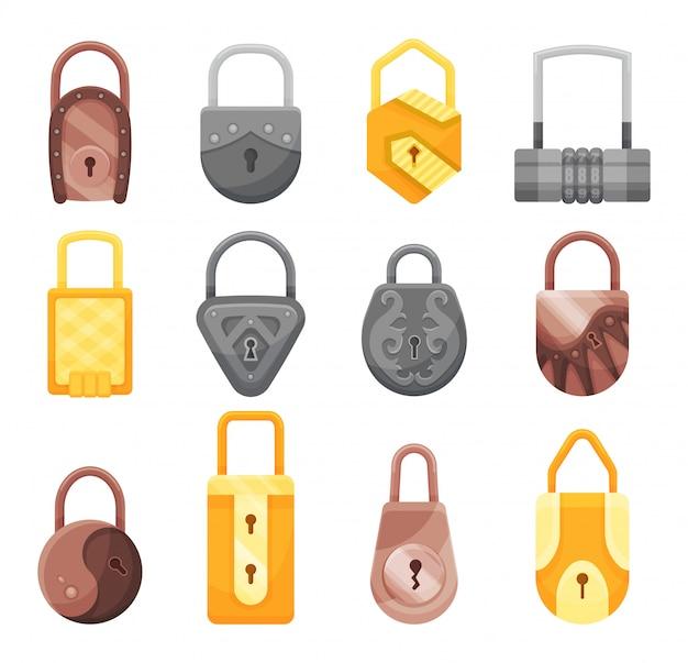Коллекция навесных замков. плоские иконки замка для защиты конфиденциальности, веб-и мобильных приложений. мультяшный закрытые замки. шаблон оформления золотых, стальных и бронзовых замков