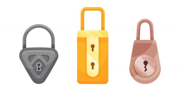 Висячие. плоские иконки замка для защиты конфиденциальности, веб-и мобильных приложений. мультяшный закрытые замки. шаблон оформления золотых, стальных и бронзовых замков