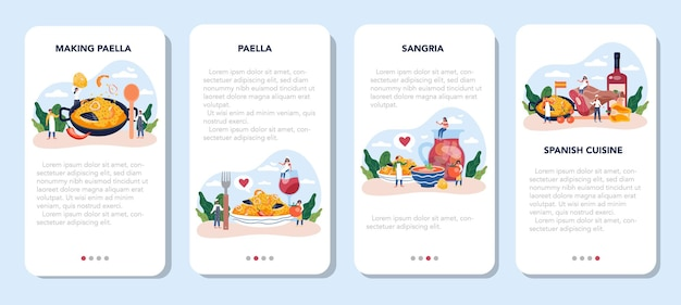 Paella mobile application banner set. spanish traditional dish with seafood and rice on a plate. chefs cooking healthy gourmet cuisine.