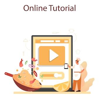 Онлайн-сервис или платформа паэлья. испанское традиционное блюдо с морепродуктами и рисом на тарелке.