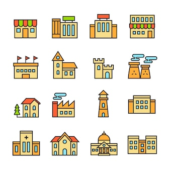 Набор иконок пафоро (здание)