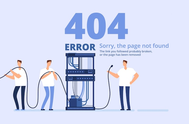 Page 404 error illustration. sorry, page not found web site template with server and network administrators.