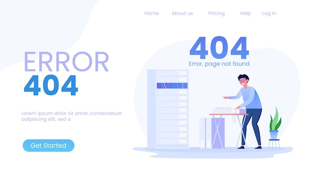 Page 404 error  server and network administrators maintenance illustration
