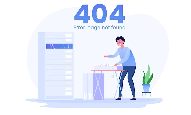 Page 404 error  server and network administrators maintenance illustration