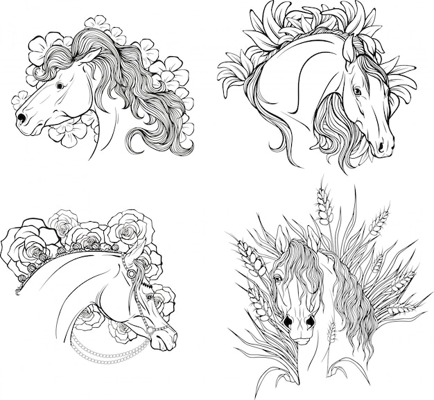 Page coloring portraits of horses