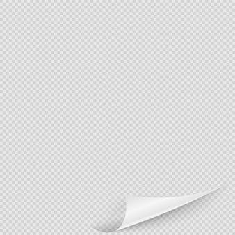 Page corner. realistic transparent curly page corner with shadow on clear background.  leaflet  illustration