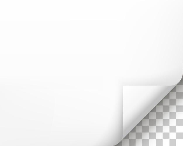 Загнутая страница с тенью на чистый лист бумаги. белая бумажная наклейка. элемент для рекламы и рекламных сообщений, изолированные на прозрачном фоне. элемент дизайна шаблона, векторные иллюстрации