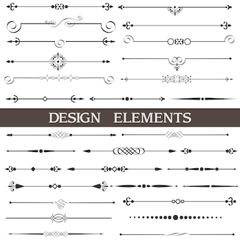 Page decor, calligraphic design elements, set