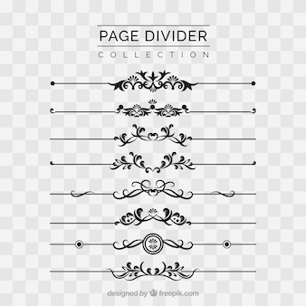 Page dividers collection without background