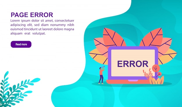 Page error illustration concept with character. landing page template