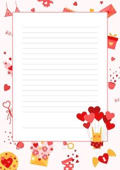 Страница для написания. симпатичный мультяшный шаблон таблицы стилей со швами.