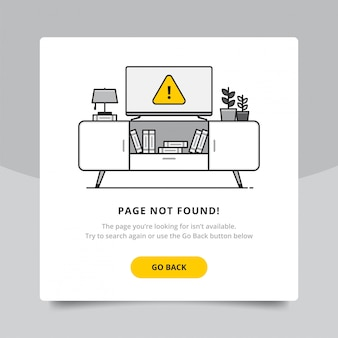Page not found 404 design tamplate. 404 error page flat line concept. link to a non-existent page. tv with error sign show up. with flower plant and table lamp