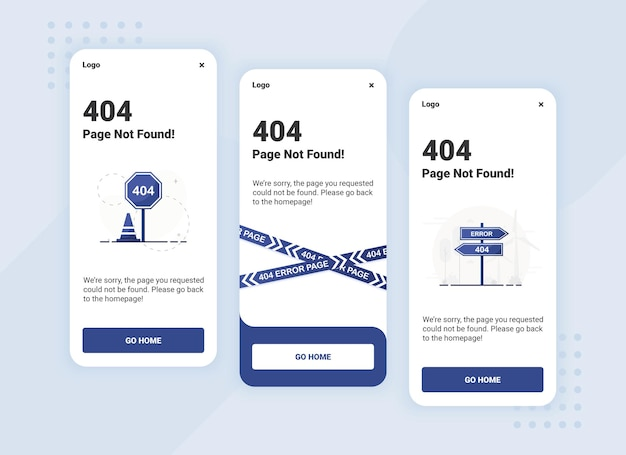 Page not found 404 error banner template for mobile version ui design