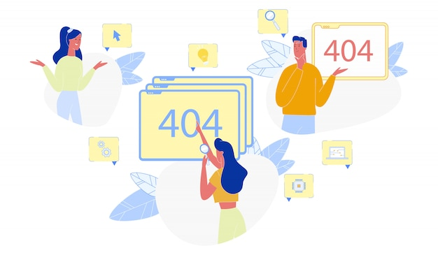 Page not found 404 error and puzzled people set