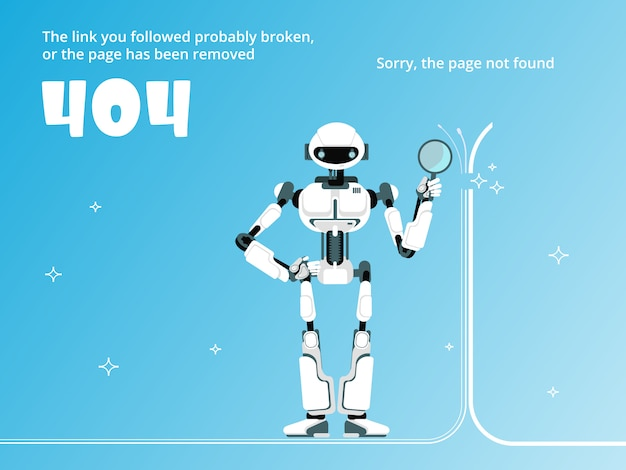 Page not found or 404 error template with robot vector