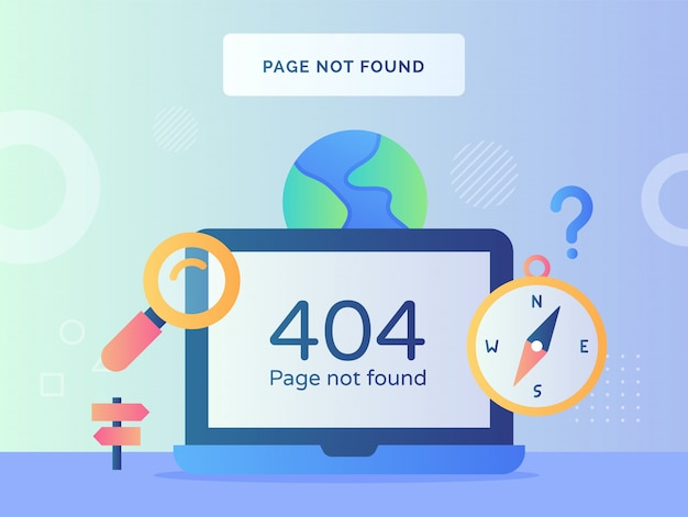 Page not found concept with monitor and laptop computer sign with icon style modern flat style