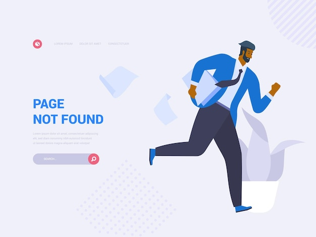 Page not found homepage vector template. 404 error website landing page interface idea with flat illustrations. access problem. internet connection failure web banner cartoon concept
