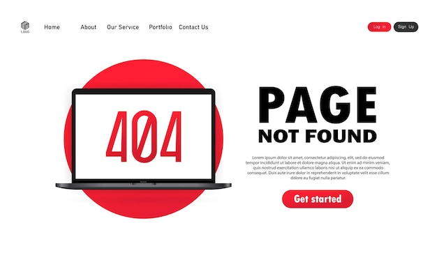 Page not found illustration. 404 error sign on laptop screen. vector on isolated white background. eps 10.