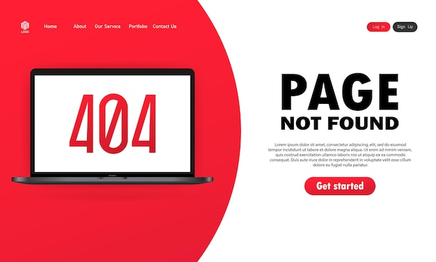 Page not found on laptop screen. 404 error sign illustration. ui design. vector on isolated background. eps 10.