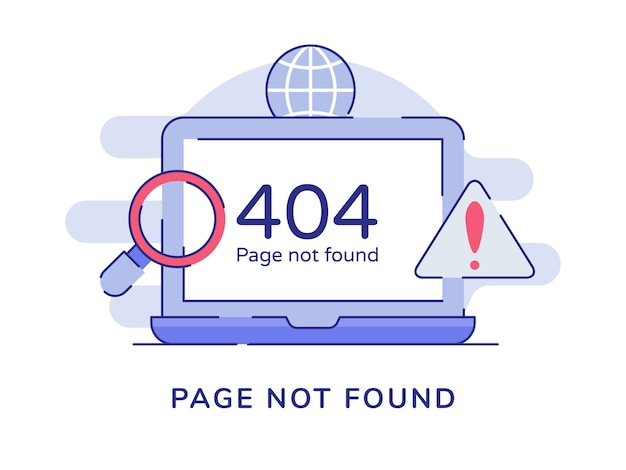 Page not found warning 404 number on display laptop