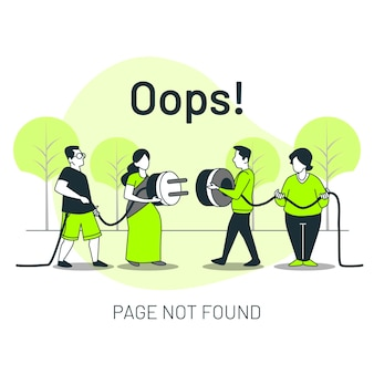 Page not found with people connecting a plug concept illustration