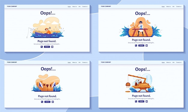 Страница не найдена 404 сообщение об ошибке для иллюстрации сайта. предупреждение, проблема с сетевым подключением, целевая страница с ошибкой поиска в интернете