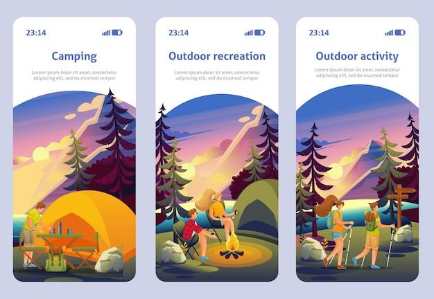 ページテンプレートモバイルアプリ..森の中でアクティブなレクリエーション。