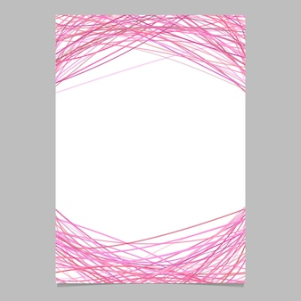 Page template with random arched lines in pink tones - blank vector poster illustration on white background