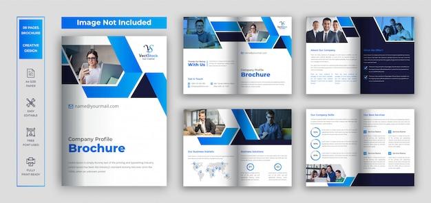 ページ会社概要パンフレット、ビジネスおよび企業の2つ折りパンフレットのテンプレート