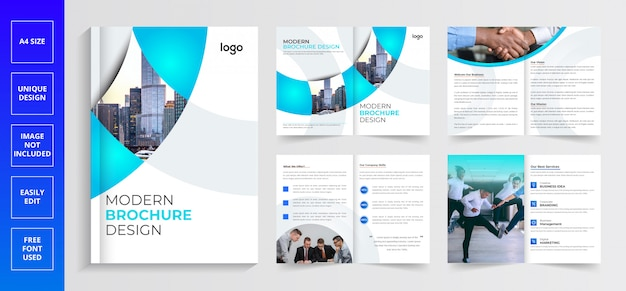 Pages company profile brochure, modern brochure design template