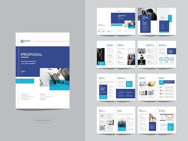 ページ企業のビジネスパンフレットのデザインテンプレート